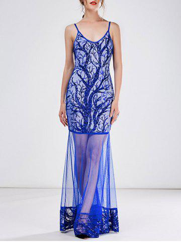 Latest Long Sequin See Thru Slip Prom Dress BLUE XL