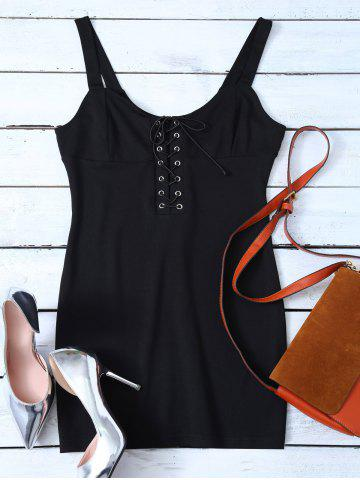 Discount Lace Up Straps Bodycon Mini Dress BLACK M