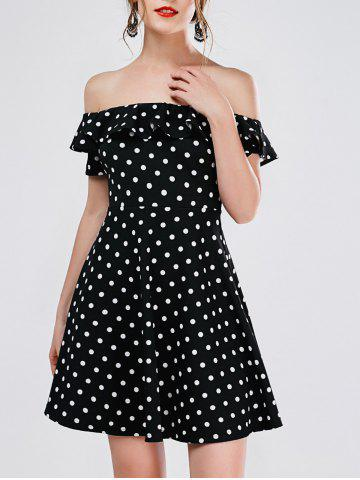 Chic Polka Dot Mini Off The Shoulder Vestido Skater Dress