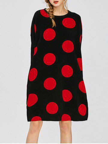 Store Polka Dot Casual Dress With Double Pocket