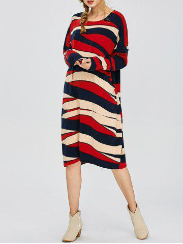 Outfit Twin Pocket Color Block Slouchy Jumper Dress