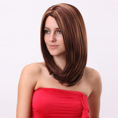 Outfit Medium Silky Straight Bob Side Parting Colormix Synthetic Wig