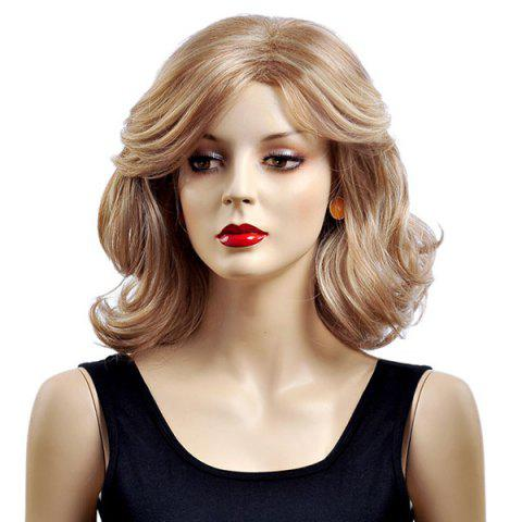 Chic Medium Side Parting Layered Shaggy Wavy Bob Synthetic Wig