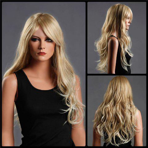 Discount Long Side Bang Fluffy Wavy Colormix Synthetic Wig