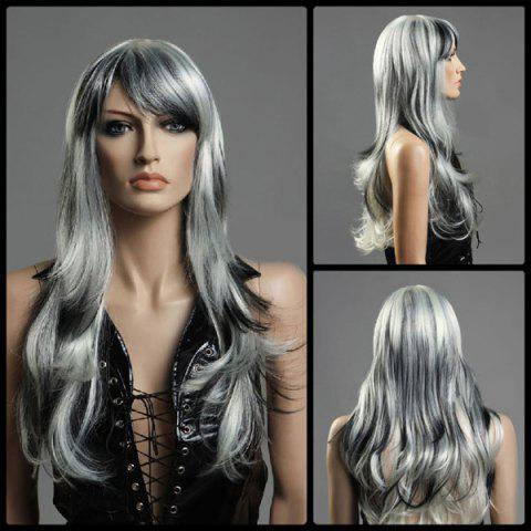 Buy Long Oblique Bang Fluffy Wavy Colormix Synthetic Wig