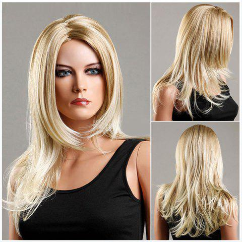 Outfit Long Zigzag Parting Fluffy Slightly Curled Synthetic Wig FLAX