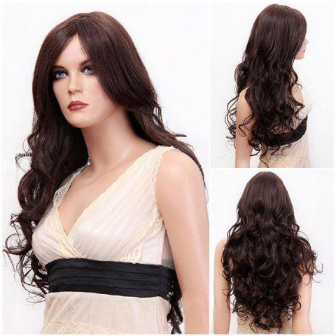 Chic Long Side Parting Fluffy Layered Wavy Synthetic Wig