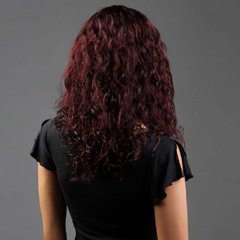 New Long Side Bang Curly Fluffy Synthetic Wig - WINE RED  Mobile