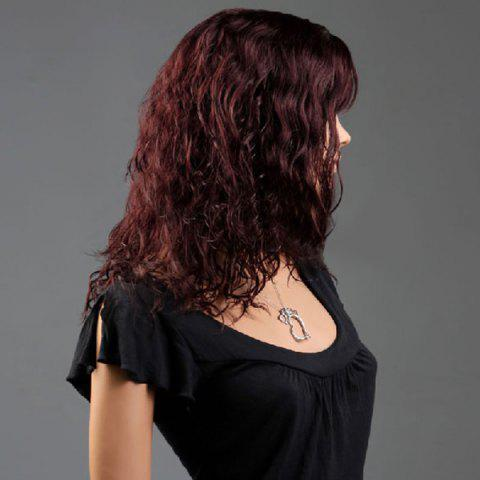 Sale Long Side Bang Curly Fluffy Synthetic Wig - WINE RED  Mobile