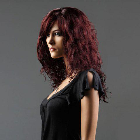 Cheap Long Side Bang Curly Fluffy Synthetic Wig - WINE RED  Mobile