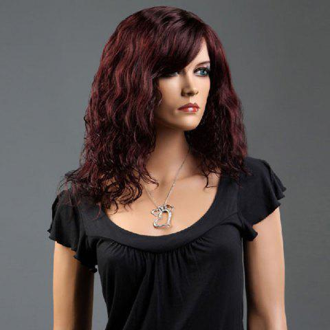 Fashion Long Side Bang Curly Fluffy Synthetic Wig - WINE RED  Mobile