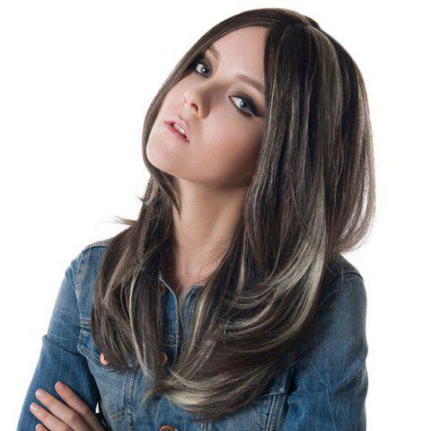 Cheap Long Highlight Side Parting Straight Synthetic Wig