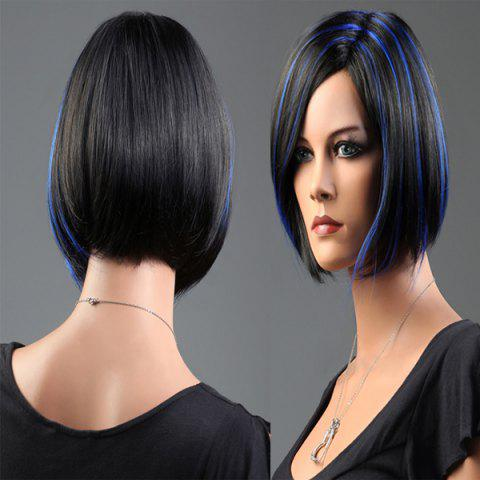 Trendy Short Side Parting Highlight Bob Silky Straight Synthetic Wig