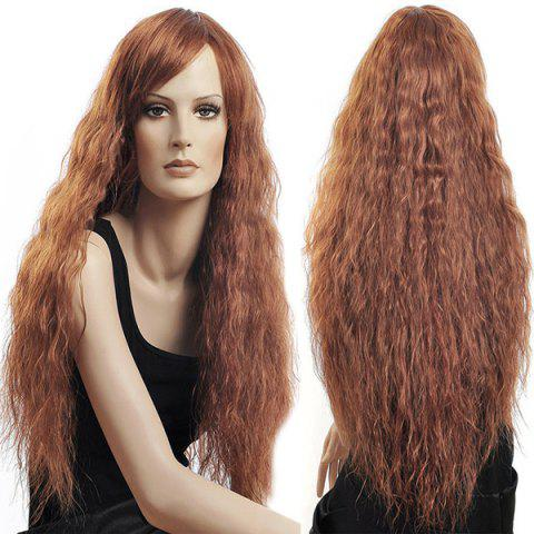 Buy Long Side Bang Shaggy Curly Synthetic Wig FLAXEN