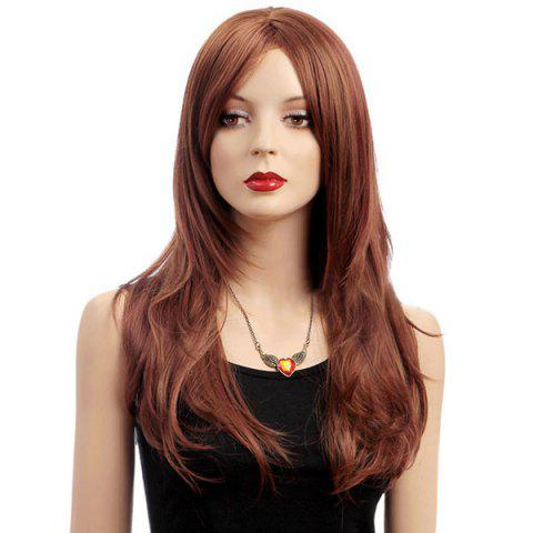 Long Middle Parting Slightly Curled Shaggy Synthetic Wig - LIGHT BROWN