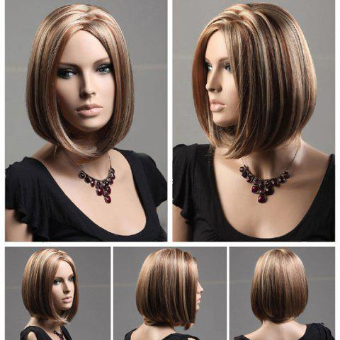 Discount Short Zigzag Parting Colormix Silky Straight Bob Synthetic Wig