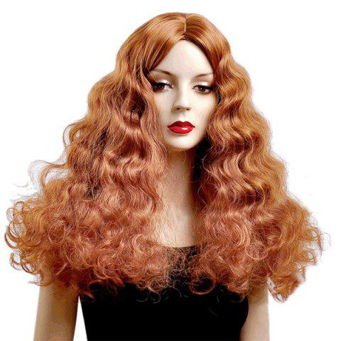 Fancy Long Water Wave Middle Parting Shaggy Synthetic Wig RED BROWN 350/35#