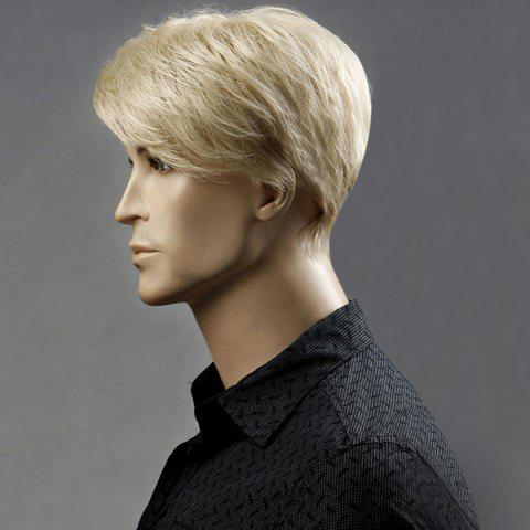 Latest Short Side Bang Layered Shaggy Straight Synthetic Wig - DARK GOLD  Mobile