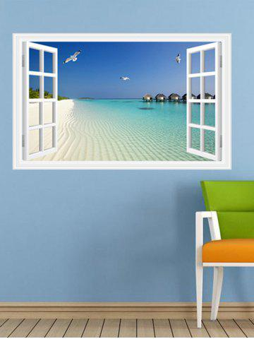 Outfits Vinyl Window Design 3D Beach Wall Stickers Home Decoration - LAKE BLUE  Mobile