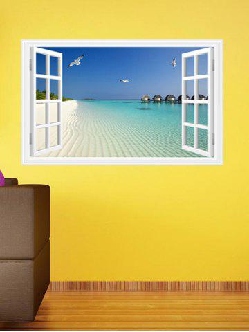 Store Vinyl Window Design 3D Beach Wall Stickers Home Decoration - LAKE BLUE  Mobile