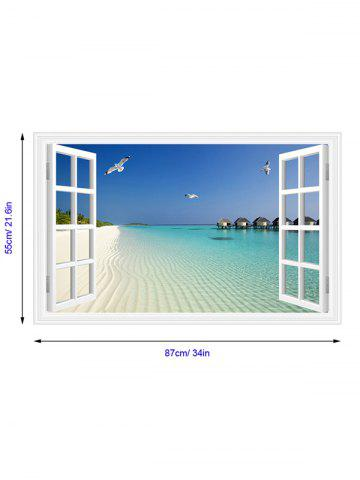 Outfit Vinyl Window Design 3D Beach Wall Stickers Home Decoration - LAKE BLUE  Mobile