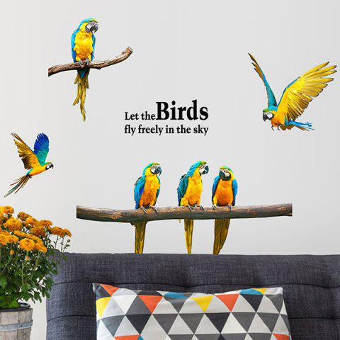 Shop Removable Parrot Bird DIY Wall Stickers BLUE/YELLOW