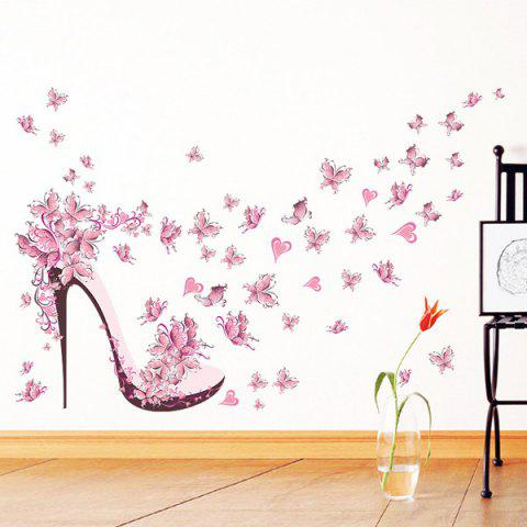 Fancy High Heels Butterfly Flower Wall Stickers For Bedrooms - PINK  Mobile