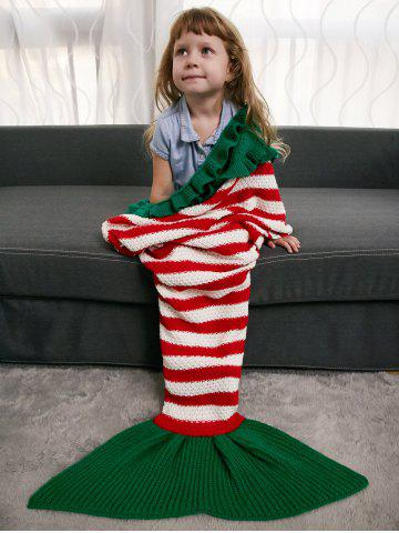 New Ruffles Edge Crochet Knit Striped Mermaid Blanket Throw For Kids