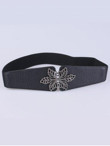 Fashion Vintage Floral Embellished Elastic Belt - BLACK  Mobile