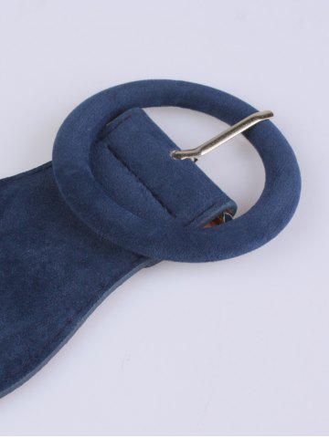 Fancy Round Pin Buckle Elastic Extra Wide Belt - BLUE  Mobile