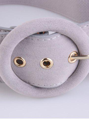 Buy Round Pin Buckle Elastic Extra Wide Belt - GRAY  Mobile