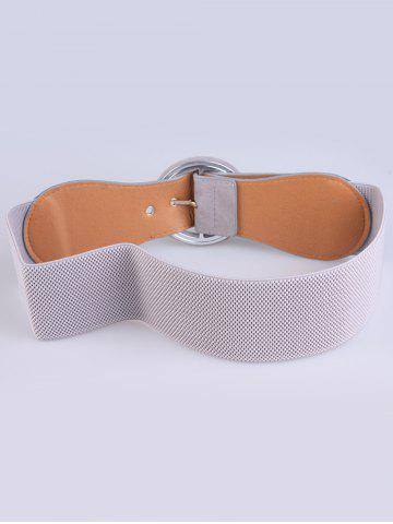 Trendy Round Pin Buckle Elastic Extra Wide Belt - GRAY  Mobile