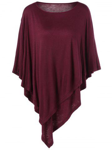 Buy Plus Size Batwing Sleeve Overlay T-Shirt - Dark Red 3XL