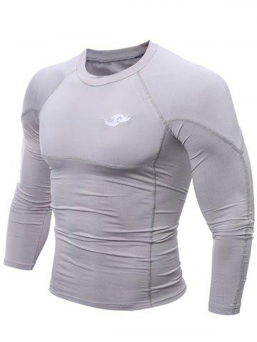 Chic Tight Stitching Crew Neck Cycling Jerseys - L GRAY Mobile