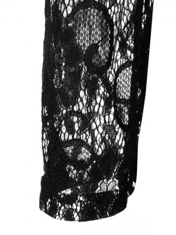 Trendy Plus Size Lace Panel Sheer Ruched T-Shirt - 3XL BLACK Mobile