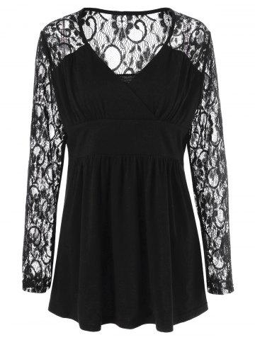 Discount Plus Size Lace Panel Sheer Ruched T-Shirt - 3XL BLACK Mobile