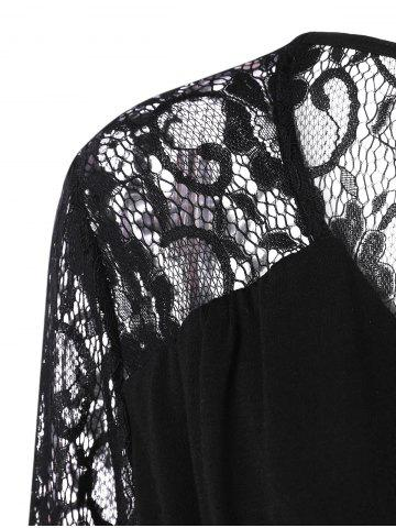 New Plus Size Lace Panel Sheer Ruched T-Shirt - 3XL BLACK Mobile