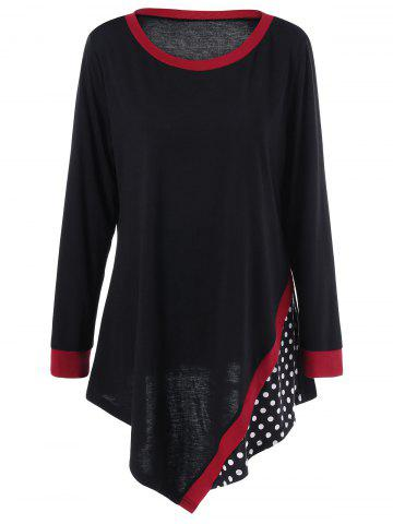 Trendy Plus Size Polka Dot Asymmetric Tunic T-Shirt - 5XL BLACK Mobile