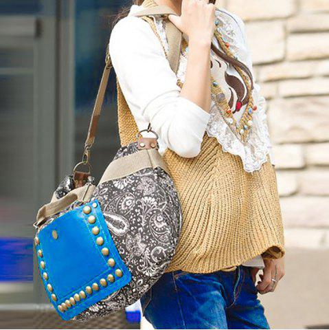 Outfits Ethnic Style Rivets and Splice Design Women's Tote Bag - COLORMIX  Mobile