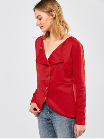 New Button Design Asymmetrical Jacket - XL RED Mobile