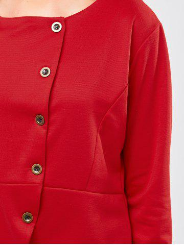 Chic Button Design Asymmetrical Jacket - L RED Mobile