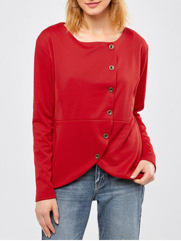 New Button Design Asymmetrical Jacket - L RED Mobile