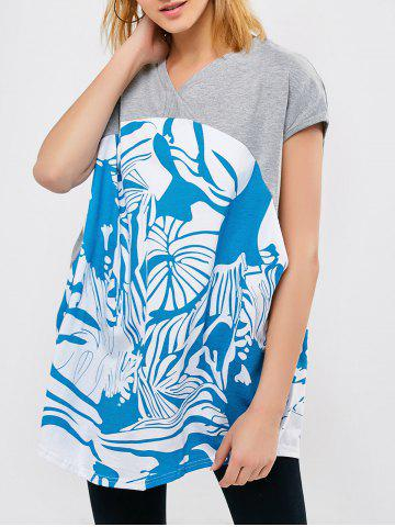 Trendy V Neck Printed Panel Tee - 2XL LIGHT GREY Mobile