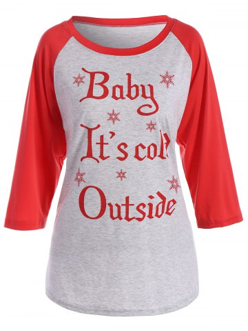 Chic Letter Christmas Snowflake Raglan Sleeve Tee - 2XL GRAY Mobile