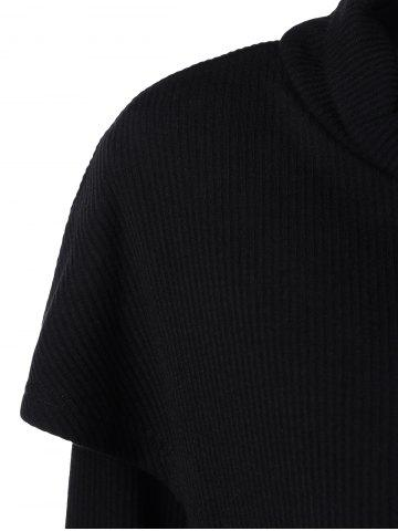 Chic Cowl Neck Overlay Asymmetrical Longline Knitwear - XL BLACK Mobile