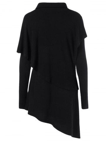 Outfit Cowl Neck Overlay Asymmetrical Longline Knitwear - XL BLACK Mobile