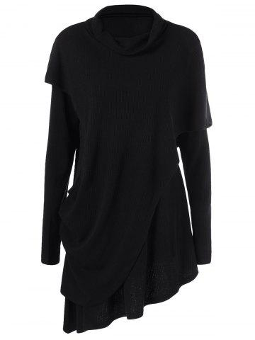 Chic Cowl Neck Overlay Asymmetrical Longline Knitwear - M BLACK Mobile