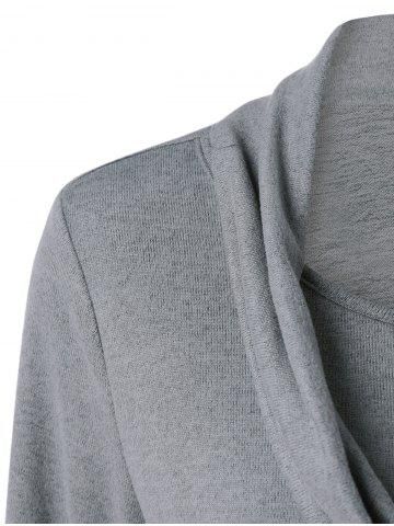 Outfit Cowl Neck Ruched Longline Knitwear - XL GRAY Mobile