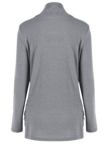 Outfit Cowl Neck Ruched Longline Knitwear - L GRAY Mobile