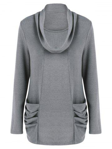Outfit Cowl Neck Ruched Longline Knitwear - M GRAY Mobile
